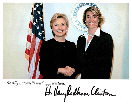 Ally LaTourelle with Hillary Clinton