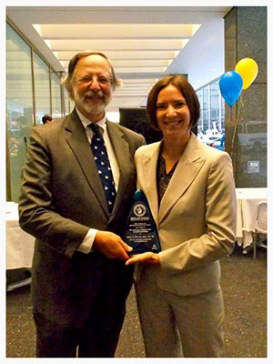 Nicholas A. Robinson with Emily Collins, Award winner for Nicholas A. Robinson Award for Alumni Achievement