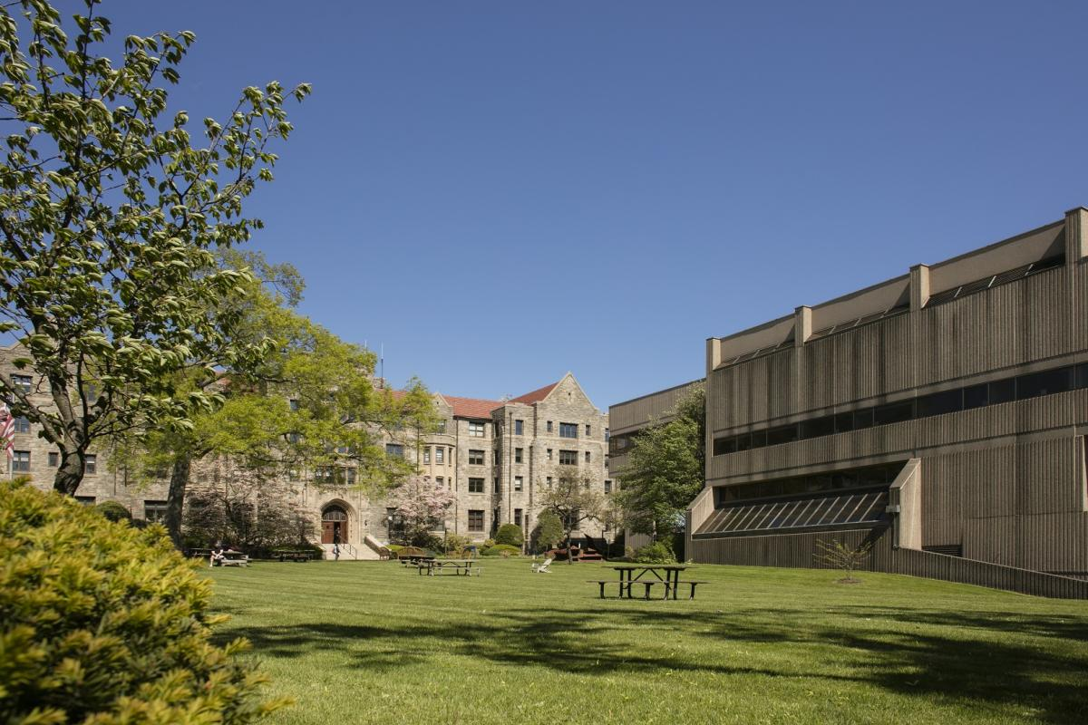 campus showing library building and Preston Hall