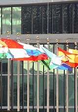 photo of some flags outside of United Nations