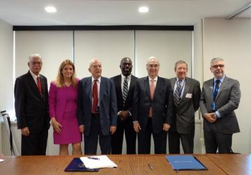 Pace University Provost with UPEACE Rector and Dean sign the MOU