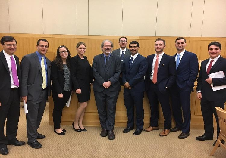 Professor Dorfman, Dean Yassky and students at the White Plains courthouse